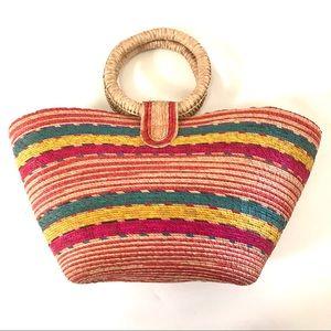 Vintage woven straw handbag purse
